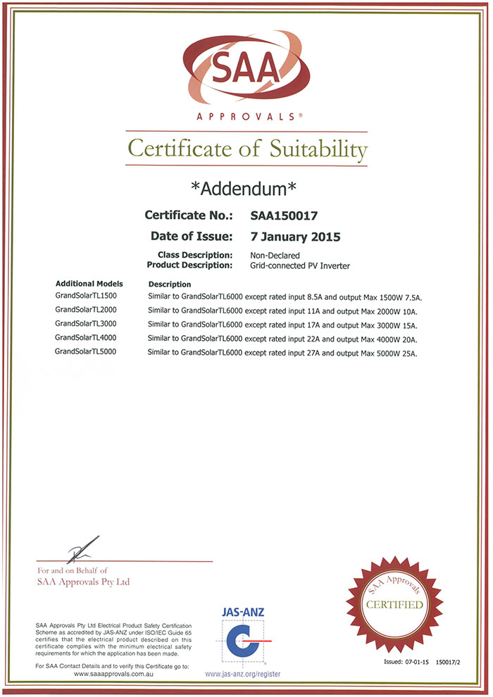 SAA Certificate single phase(1)