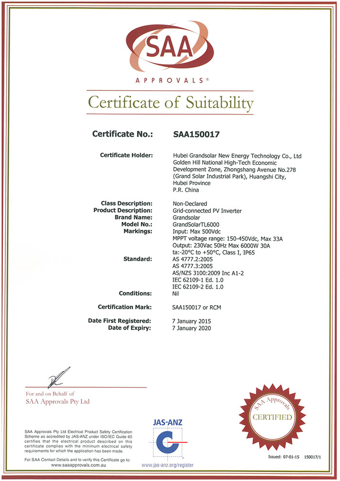 SAA Certificate single phase (2)