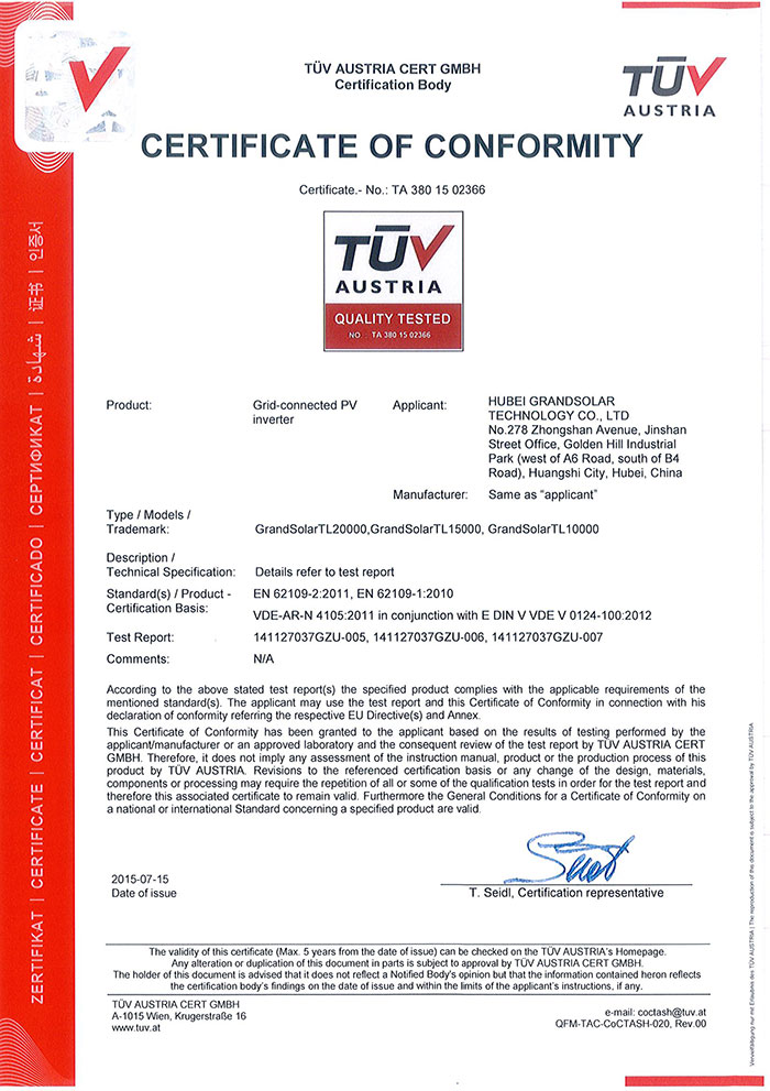 TUV certificate 3 phase